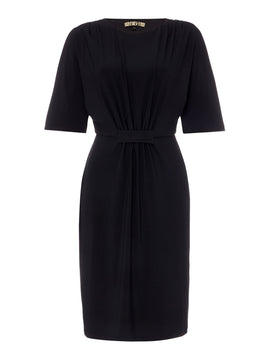 Biba Lace detail jersey dress- Black
