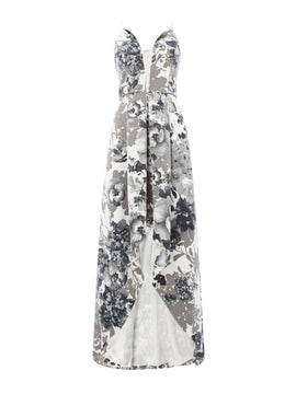 Adrianna Papell V neck printed gown with high low hem- Black & White