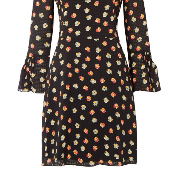 Armani Exchange Floral Print 34 Sleeve Dress- Black