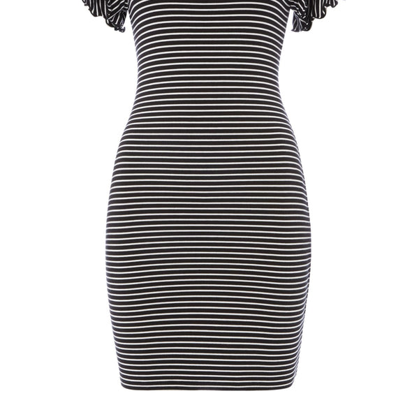 Armani Exchange Short Sleeve Dress With Ruffle Detail- Black/White