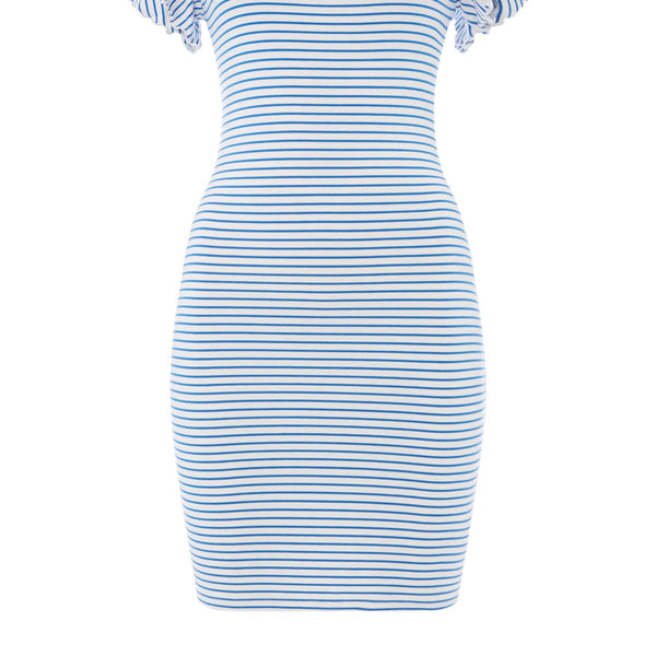 Armani Exchange Short Sleeve Dress With Ruffle Detail- White & Blue