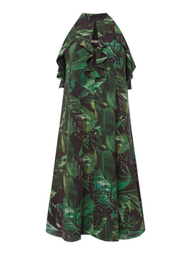 Biba Jungle printed ruffle dress- Multi-Coloured