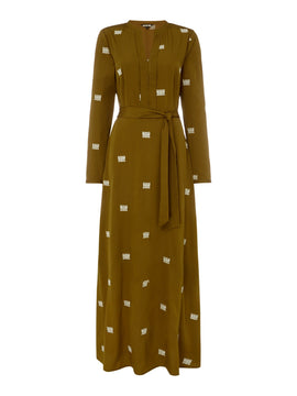 Biba Logo embroidered maxi dress- Khaki