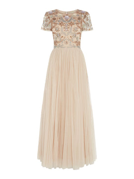 Frock and Frill Embellished top gown with cap sleeves- Pink