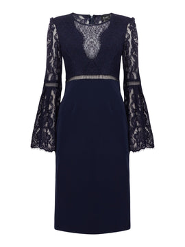 Bardot Long sleeve lace dress- Blue