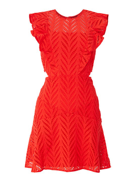 Bardot Shift dress with cut out sides- Red