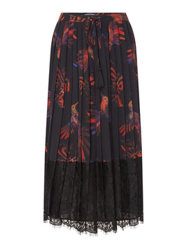 Biba Hummingbird lace pleat skirt- Multi-Coloured