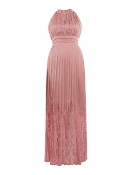 Little Mistress Pleated high neck gown- Pink