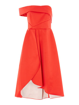 Outline One shoulder bardot style dress- Red