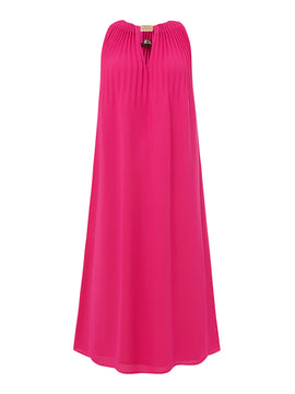Biba Pleat and trim dress- Hot Pink