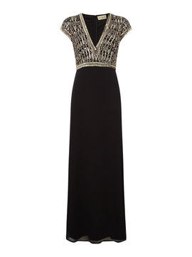Lace and Beads V neck embellished gown- Black