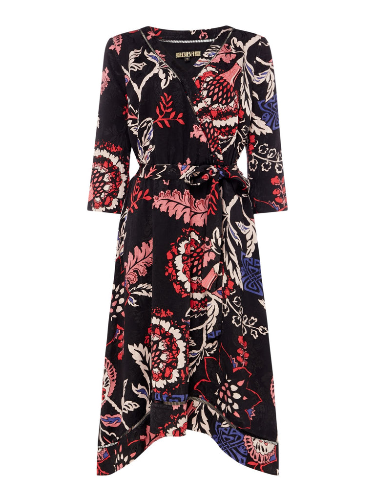 Biba Printed jacquard wrap dress- Multi-Coloured