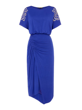 Biba Ruched detail embellished shoulder dress- Cobalt