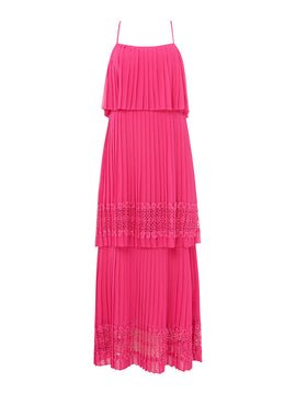 Biba Tiered lace pleat maxi dress- Pink
