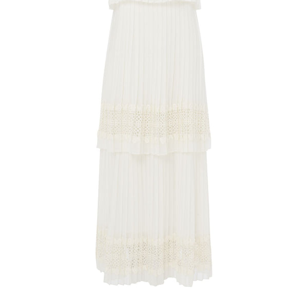Biba Tiered lace pleat maxi dress- White