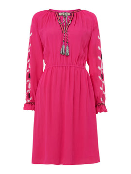 Biba Embroidered boho dress- Hot Pink
