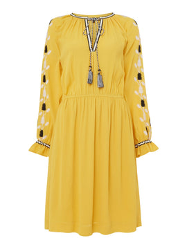 Biba Embroidered boho dress- Yellow