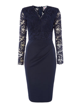 Jessica Wright V neck long sleeved lace bodycon- Blue