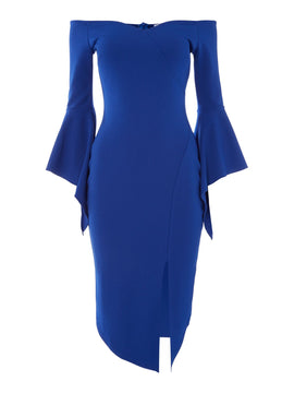 Sistaglam loves Jessica Bardot bell sleeve midi dress- Cobalt