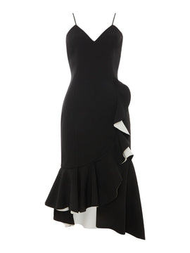 Bardot Strappy ruffle dress- Black
