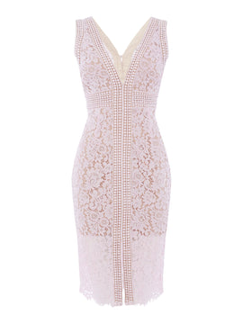 Bardot V neck bodycon dress- Pink