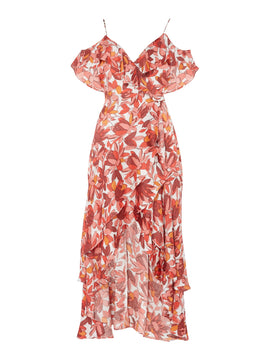 Bardot Floral dress- Multi-Coloured