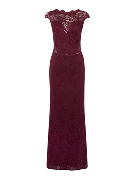 Jessica Wright Cap sleeve sequin maxi dress- Berry