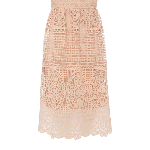 Bardot Thin strap v neck lace midi dress- Nude