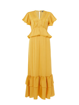 Biba Pom pom detail maxi dress- Yellow