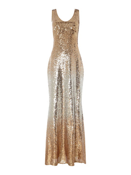 Marina Embellished V neck gown- Gold