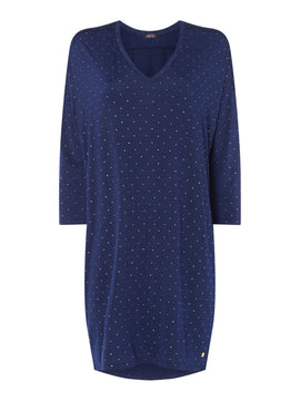 Biba Embellished shoulder long sleeve tunic- Blue
