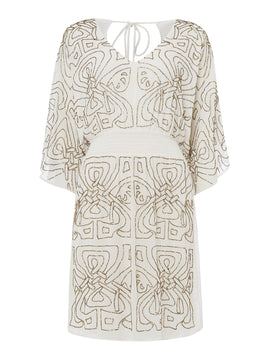 Biba Logo embellished dress- White