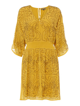 Biba Logo embellished dress- Yellow