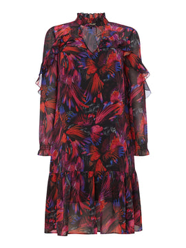Biba Rio print ruffle dress- Multi-Coloured