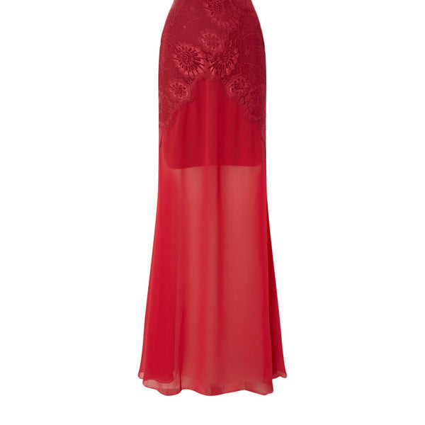 Body Frock All over lace maxi dress- Red