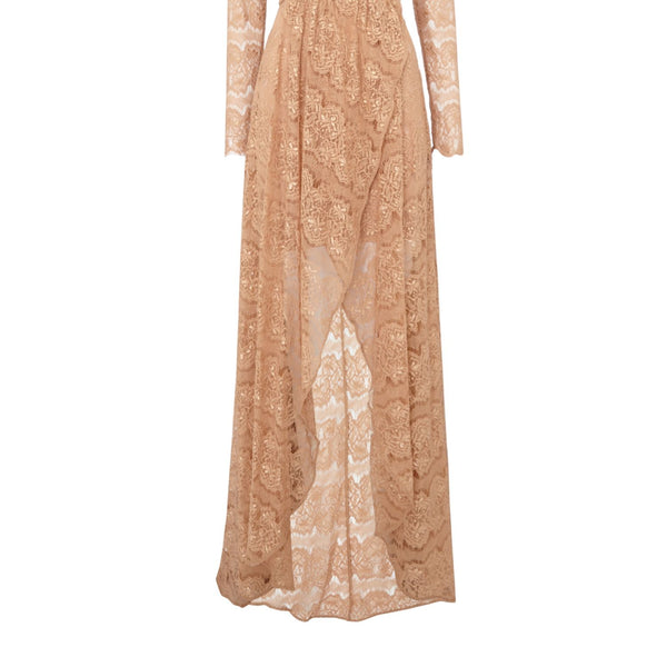 Body Frock Long sleeve lace maxi dress- Pink