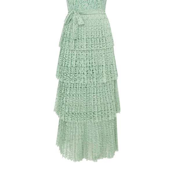 Body Frock Lace maxi dress with short sleeves- Green