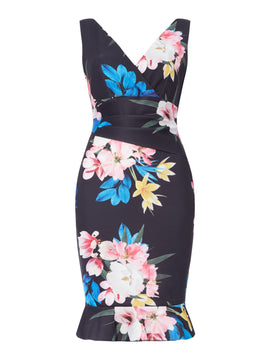 Sistaglam loves Jessica Long printed gown- Multi-Coloured