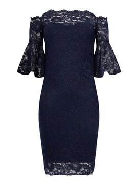 Sistaglam loves Jessica Bardot dress with bell sleeves- Blue