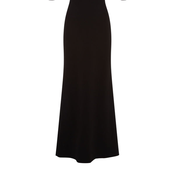 Eliza J V neck maxi dress with cape and beaded shoulder- Black
