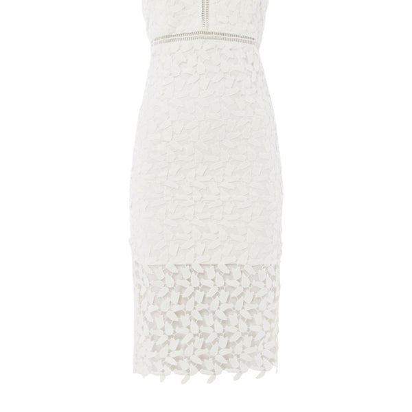 Bardot Sleeveless Halter Neck Embroidred Gemma Dress- White