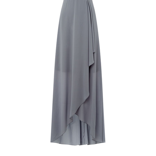tfnc V neck jewel waist maxi dress- Grey
