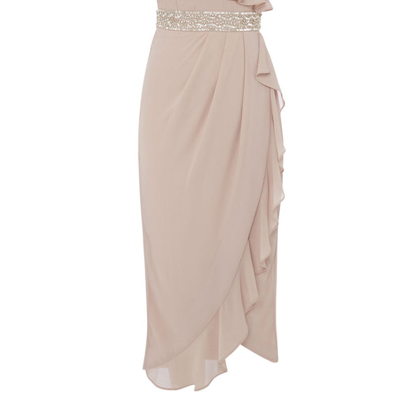 tfnc V neck ruffle detail jewel waist dress- Pink