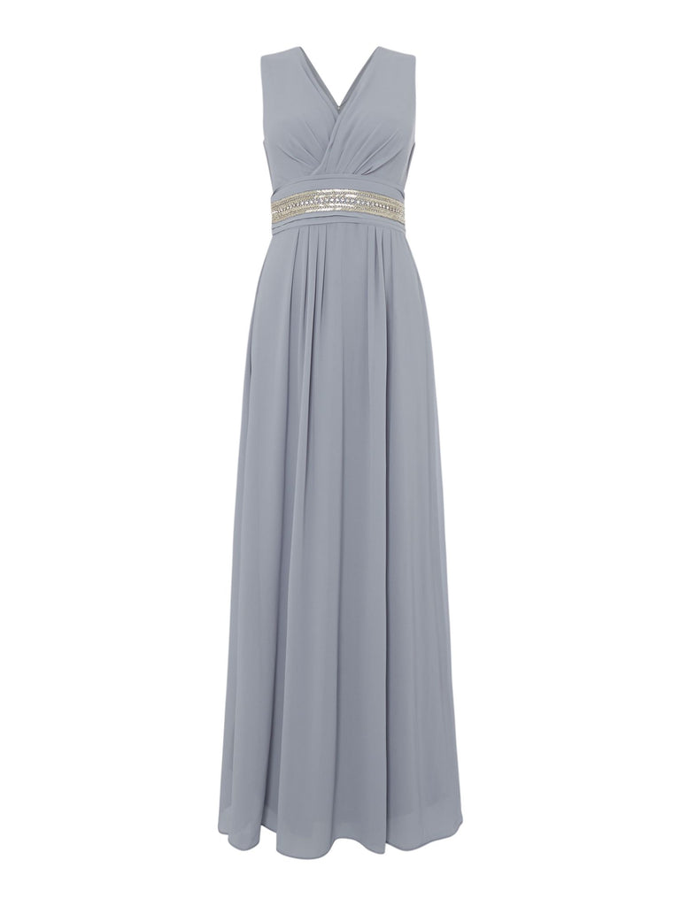 tfnc V neck strappy midi dress- Grey