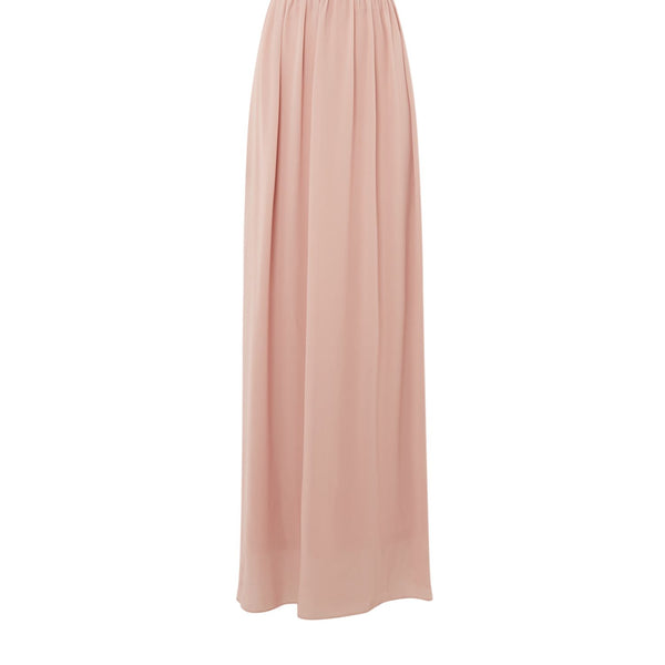 tfnc short sleeve maxi dress with lace top open back- Mauve