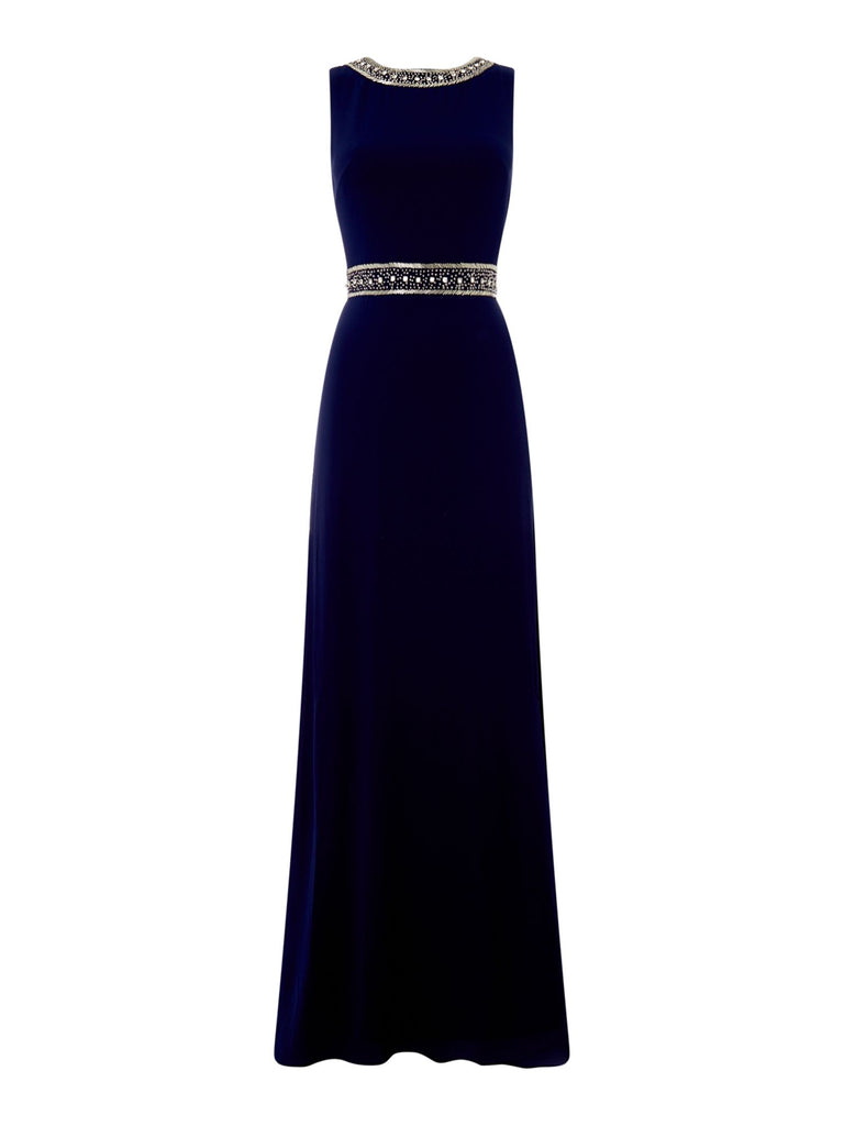 tfnc Round neck embellished maxi dress- Blue