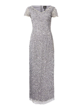 Adrianna Papell Petite embellished V neck short sleeve maxi dress- Silver