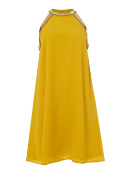 Biba Embellished summer dress- Yellow