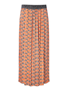 Biba Zebra printed pleat skirt- Orange