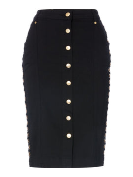 Biba Eyelet side denim skirt- Black